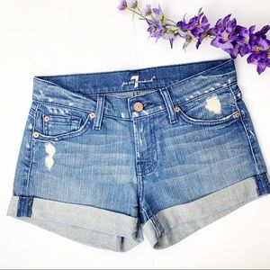 7FAM Rolled Cuffed Denim Distressed Shorts